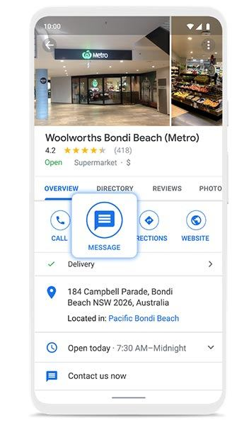 Now Sending: Business Messages Via Google Maps And Search