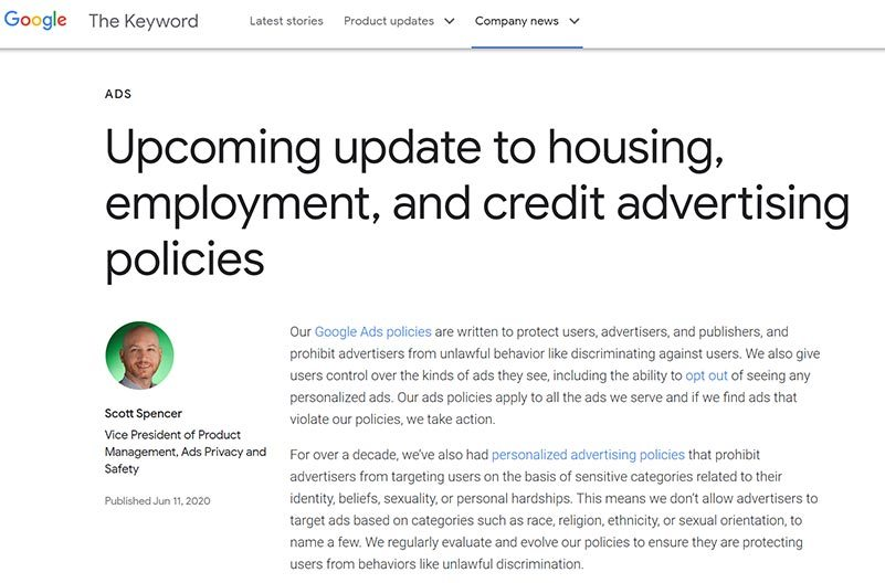 Morning Dough - Google To Prohibit Demographic, Zip Code Targeting For Housing, Employment, Credit Ads