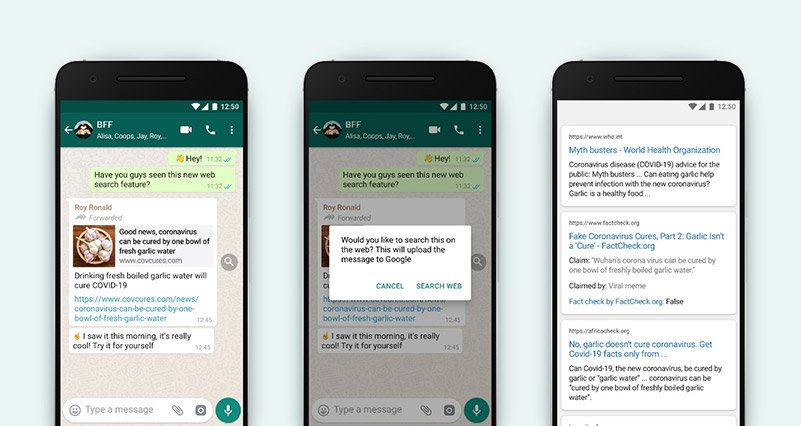 WhatsApp Pilots Search The Web Feature