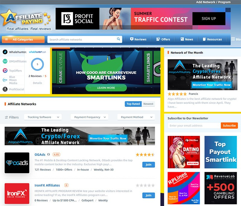 Affpaying – CPA & Affiliate Networks Portal