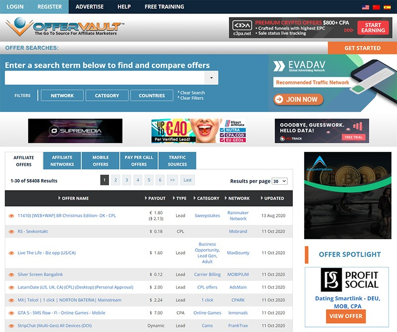 OfferVault – CPA & Affiliate Networks Portal