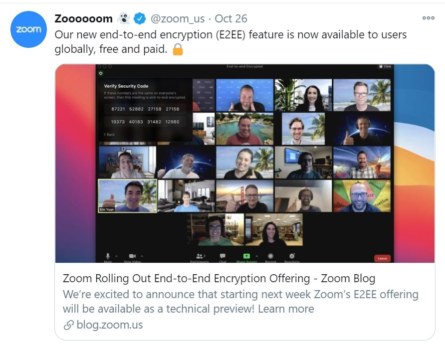 Zoom's end-to-end encryption has finally arrived