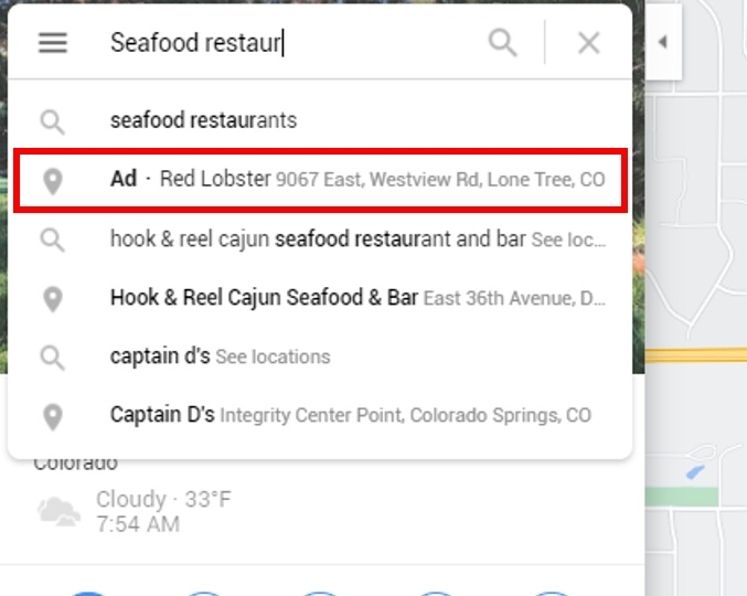 Google tests ads in Google Maps autocomplete predictions