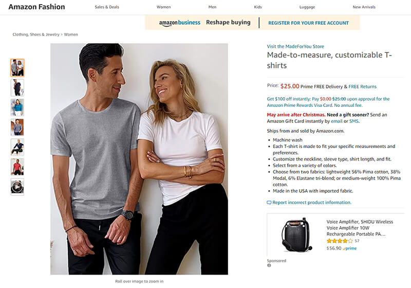 Amazon Fashion launches a custom clothing service, made specifically for you