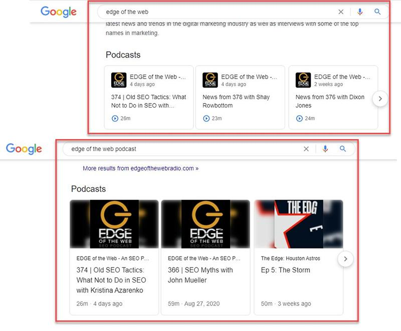 Google Search Podcast Carousel updated with larger graphics