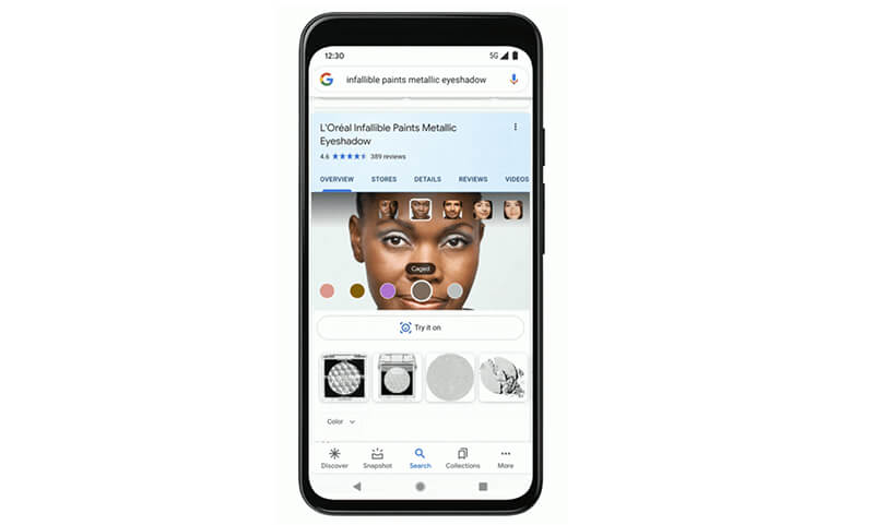 Shopping for a beauty product gets new Google 'Try-It' interface