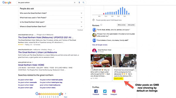 Old Google posts showing on local panels in search