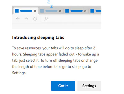 Using sleeping tabs on Microsoft Edge