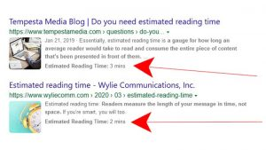 Bing Estimated Reading Time in Search Result Snippets