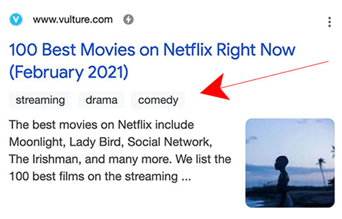 Google testing keyword tags or labels in snippets again