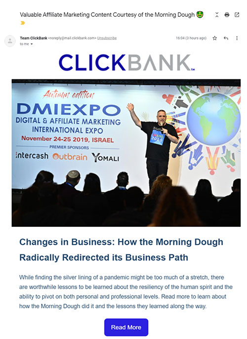 Morning Dough's story on ClickBank's blog