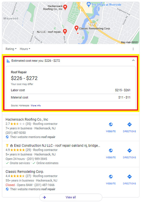 Google tests displaying cost estimates in local search results