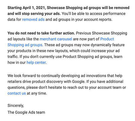 Google to discontinue showcase shopping ads on April 1st