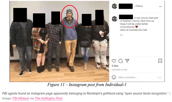 FBI used facial recognition to identify a Capitol rioter from his girlfriend's Instagram posts