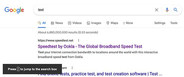 Google keyboard shortcut [/] to enter new search