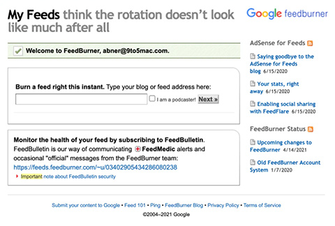 Google updating FeedBurner infrastructure, email subscriptions going away