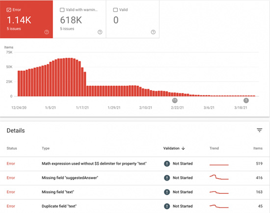 New Google structured data & debugging tools for practice problems & math solver search results
