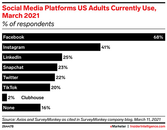The top social media platforms US adults' use
