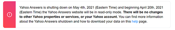 Yahoo Answers is shutting down on May 4th