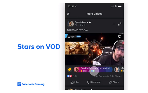 Facebook adds new monetization tools for gaming streamers, including stars for VOD Viewers