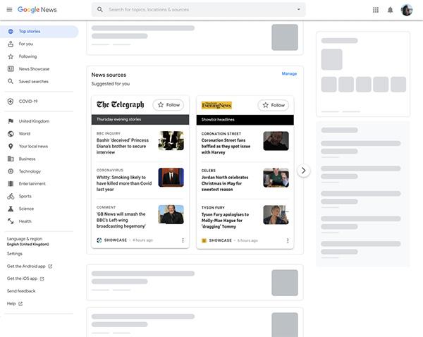 Google News Showcase, now on desktop