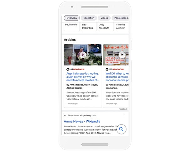 Google Search Knowledge Panels for journalists will soon show published articles