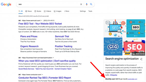 Google knowledge panel showing monthly costs for services like SEO