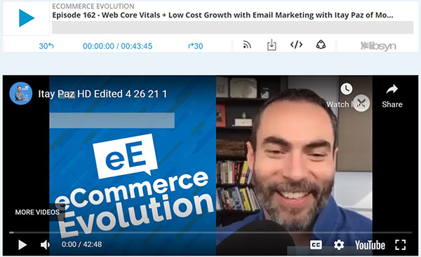Join the Ecommerce Evolution podcast on Web Core Vitals & Low-Cost Growth with Email Marketing, hosted by Brett Curry, CEO of OMG Commerce