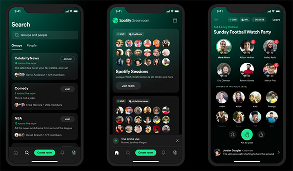 Spotify's Clubhouse competitor Greenroom launched