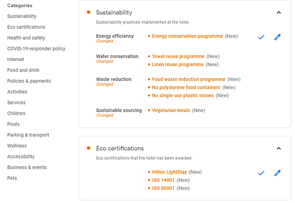 Google hotel listings add sustainability & eco certifications attributes