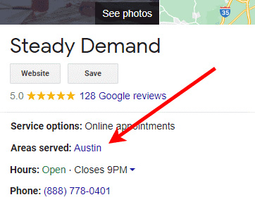 Google local business listing in search displays areas served
