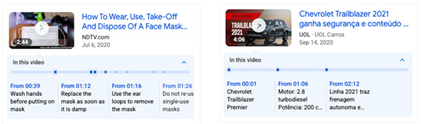Google search key moments videos support SeekToAction markup