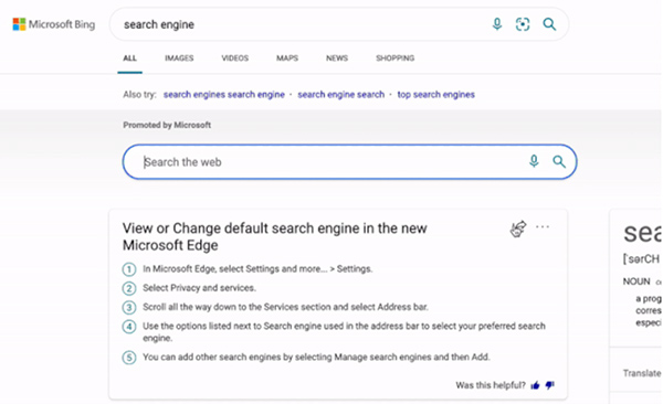 Microsoft Bing sharable direct answer