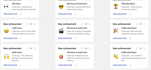 YouTube adds new channel achievement cards to incentivize creator activity