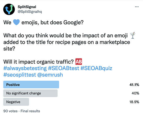 """SEO split-testing [Case Study] """"Adding an Emoji to the title on recipe pages"""""""