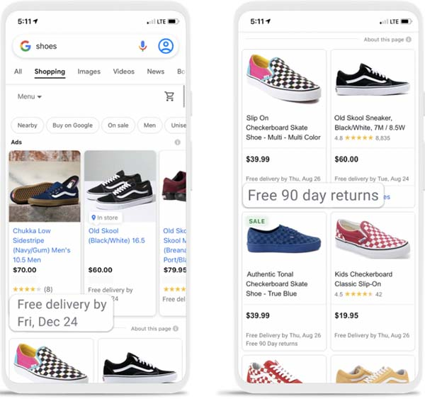 Google adds Shipping / Return annotations to shopping & search results