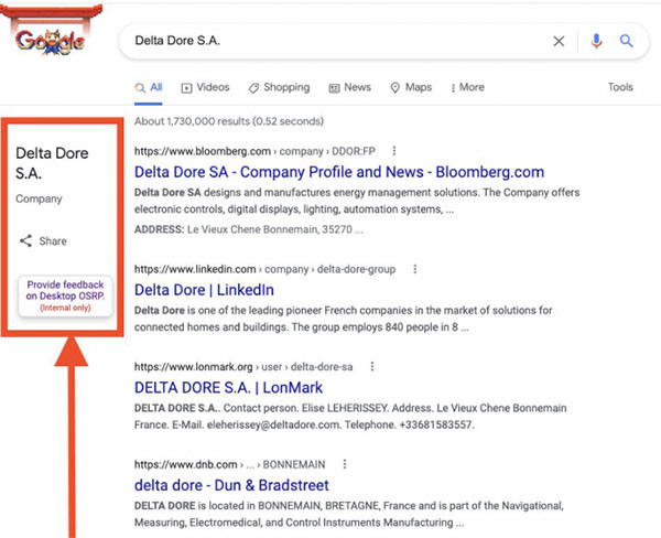 Google only internal feedback link for search results