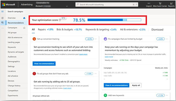 Leverage Optimization Score to help guide your Microsoft Advertising account management