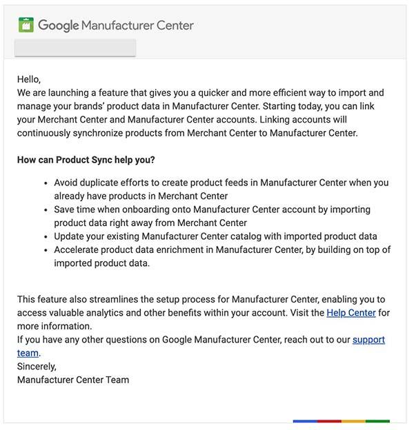 New Google merchant center & manufacturer center sync