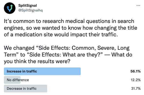 """SEO split-testing [case study] """"replacing 'side effects: common, severe, long term' with 'side effects: what are they?' in the title tag of a medication site"""""""