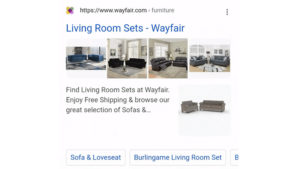 Google Search Results with Rotating Product Images