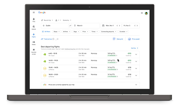 Google Flights adds new feature that displays estimated carbon emissions for trips