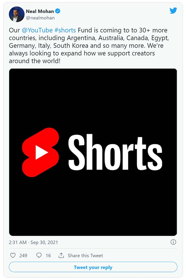 YouTube Expands its $100 Million Shorts Fund to 30 More Countries